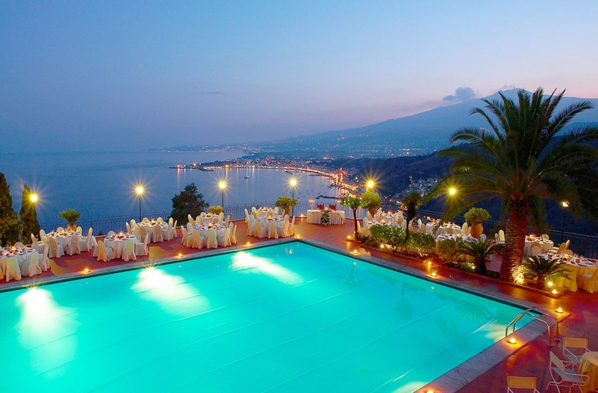 Blick vom Hotel in Taormina, Sizilien