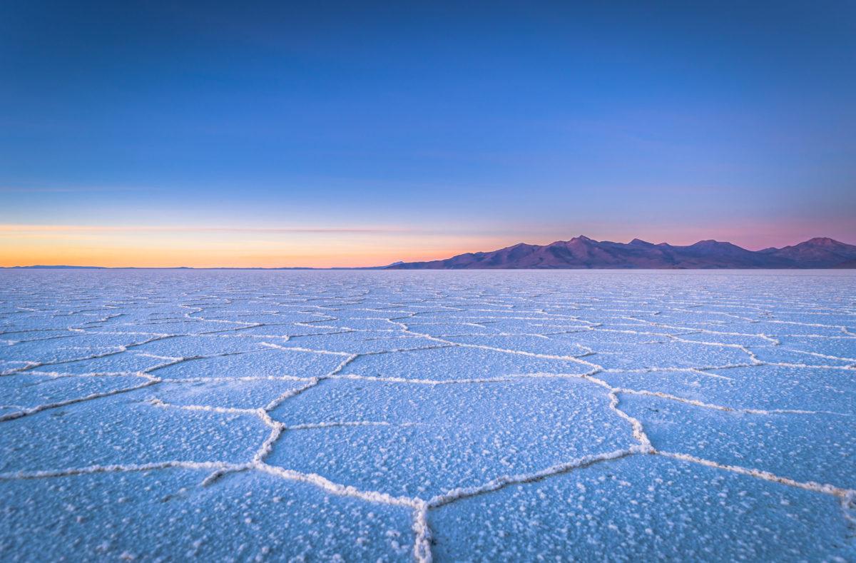 Salinen von Uyuni bei Sonnenaufgang