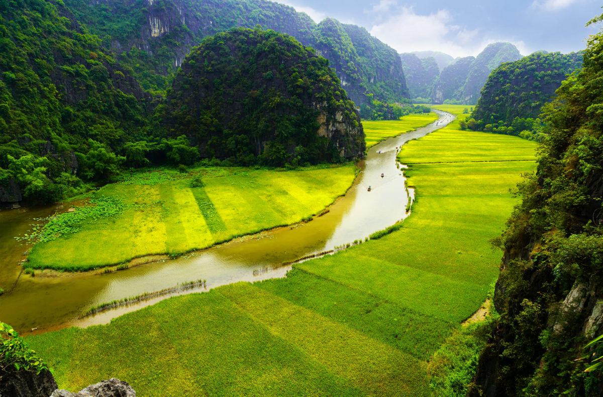 Reisfeldern und Berge Gruppenreise nach Vietnam