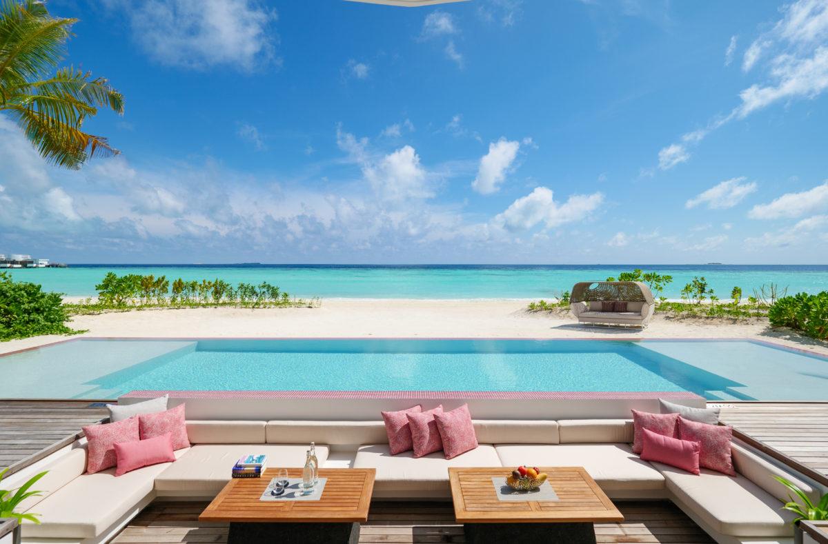 LUX North Malé Atoll Beach Villa twin pool deck