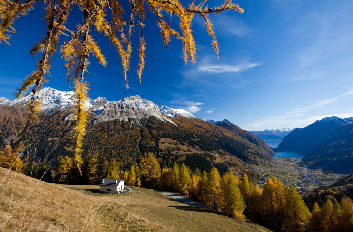Panorama des Poschiavo-Tals Sassalbo-Tal
