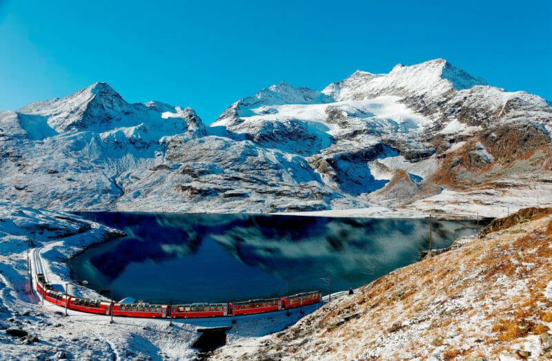Berninapass der Rhätischen Bahn