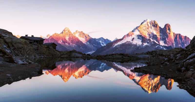 Sonnenuntergang auf dem Lac Blanc mit Blick auf den Mont Blanc