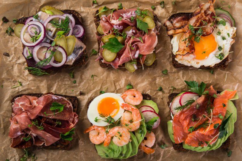 Dänische kulinarische Spezialitäten smorrebrod