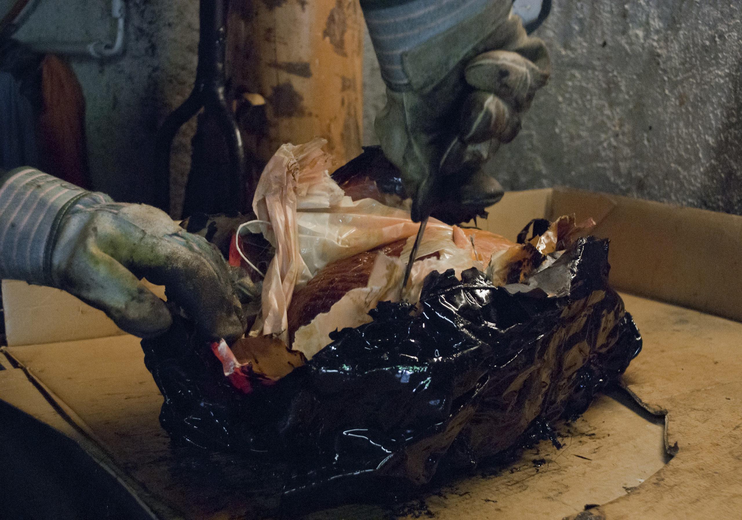 Traditionelles Essen im Asphalt