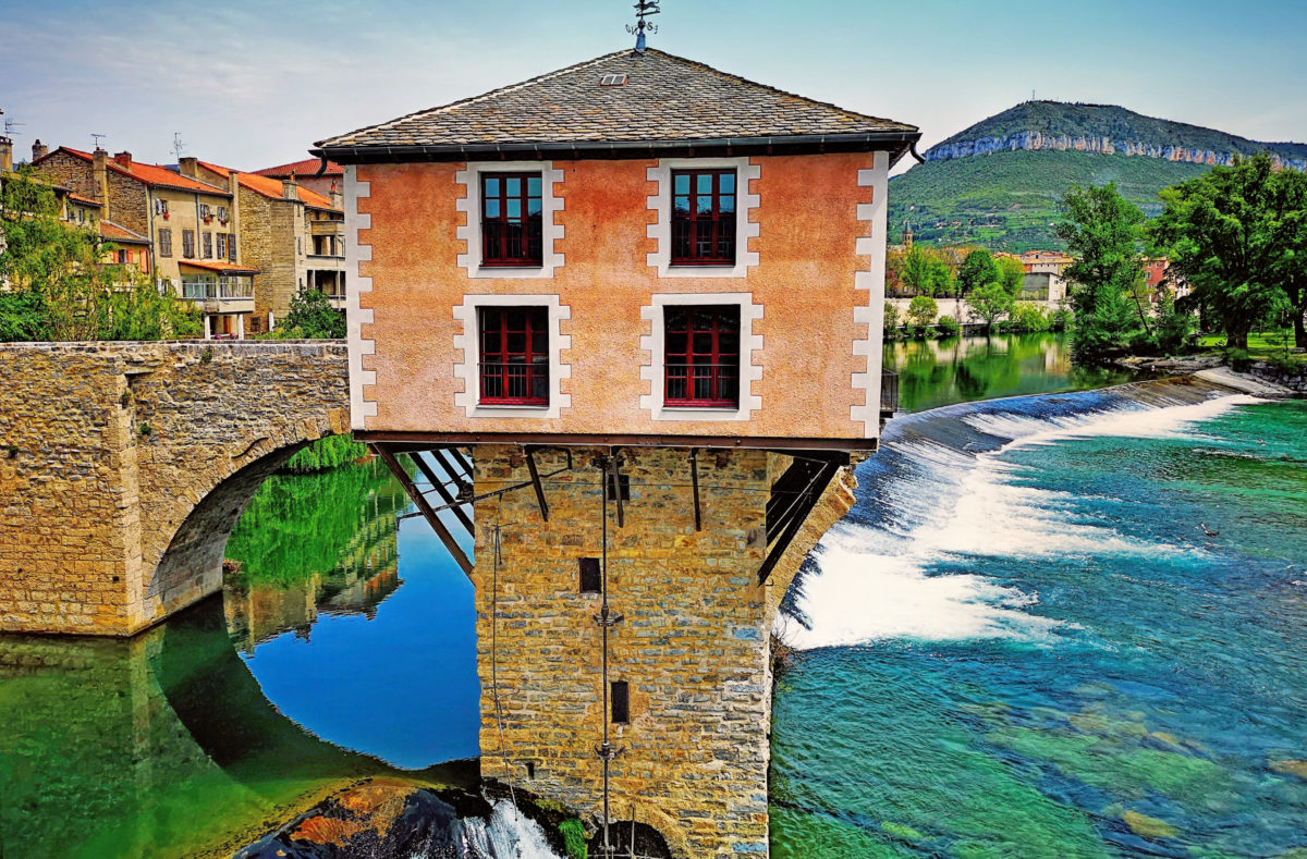 Tarn-Wassermühle in Millau, Frankreich