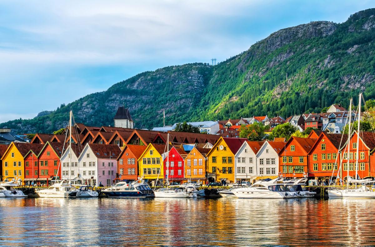 Bergen, Norwegen. Historische Gebäude in Bryggen, UNESCO-Stätte
